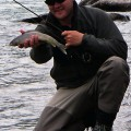Michael with arctic grayling caught on a dry fly - July 2005