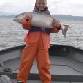 Matt with his first chinook caught on a spinner at Buoy 10 - Aug 2007