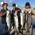 Brett Lamoreaux, Paul Conable, and Jason Snyder with chinook limit - Aug 2012