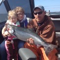 Hana Ann with first chinook, Buoy 10 - Aug 2012
