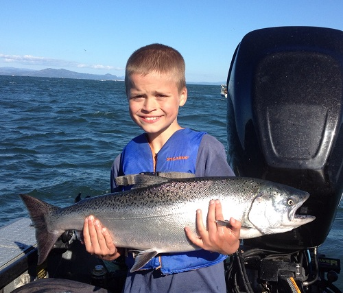 Mitchell with first chinook salmon - Aug 2012