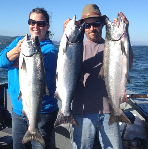 Ken & Carla Shaw, Tongue Point chinook salmon - Aug 2013
