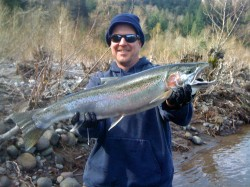 Mike with Sandy River winter steelhead - March 2010