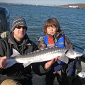 Kyler with Columbia River sturgeon - Portland area, Dec 2007