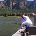 J.C. battles an oversize sturgeon in the Gorge - July 2008